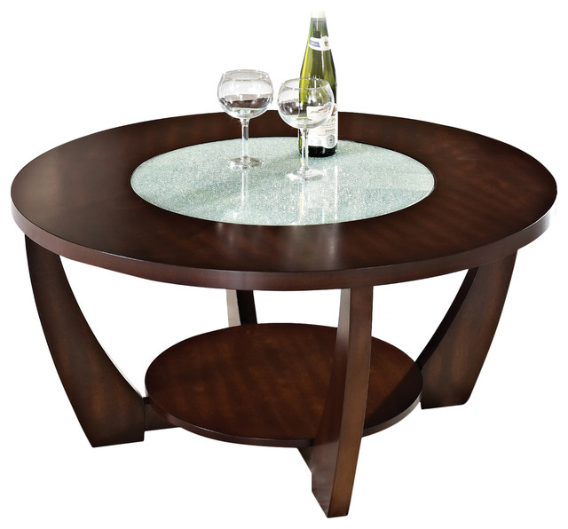 Steve Silver Rafael Round Glass Insert Cocktail Table In Cherry Coffee Tables By Steve Silver