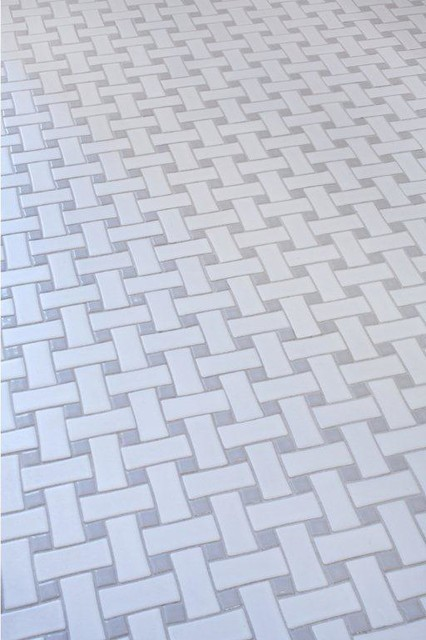 Glazed Ceramic Basketweave Tile White And Grey