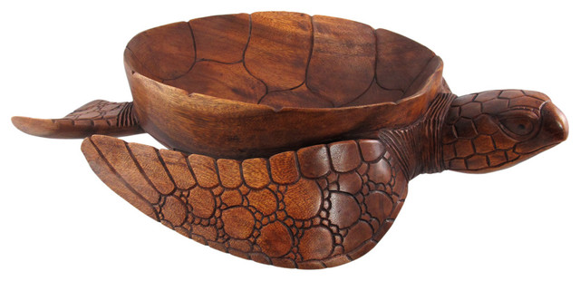 Hand Carved Mahogany Sea Turtle Centerpiece Bowl 16 Inch Beach Style Decorative Bowls By