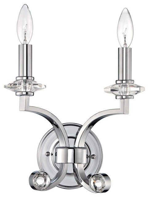 Transitional Chrome Wall Sconces : Jeremiah Lighting Saratoga 2-Light Wall Sconce, Chrome - Transitional - Wall Sconces - by ShopFreely