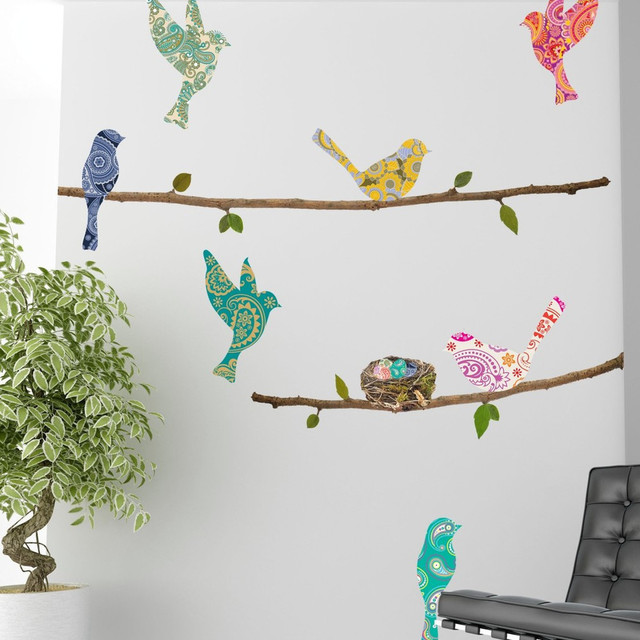 wall decal   paisley birds amp branches   contemporary