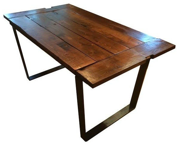 84 Rustic Reclaimed Barnwood Farm Table With Metal Frame Dark Walnut