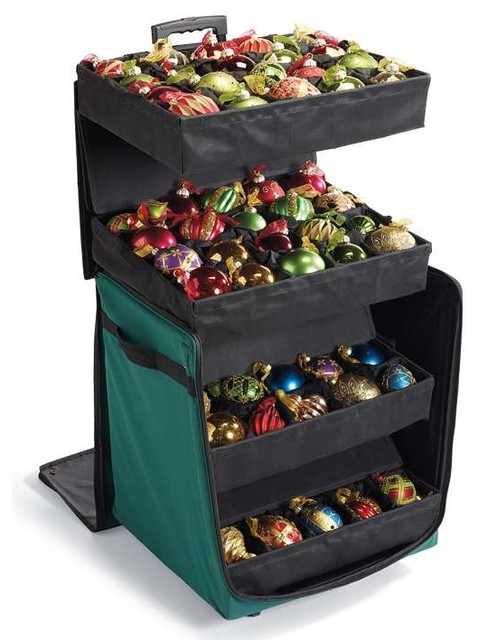 Telescoping ornament storage box contemporary holiday for Xmas decoration storage boxes