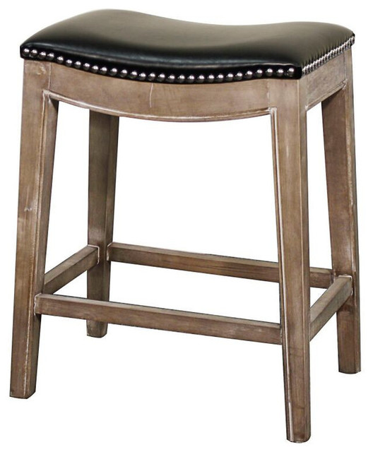Elmo Bonded Leather Counter Stool Gray Finish And Black