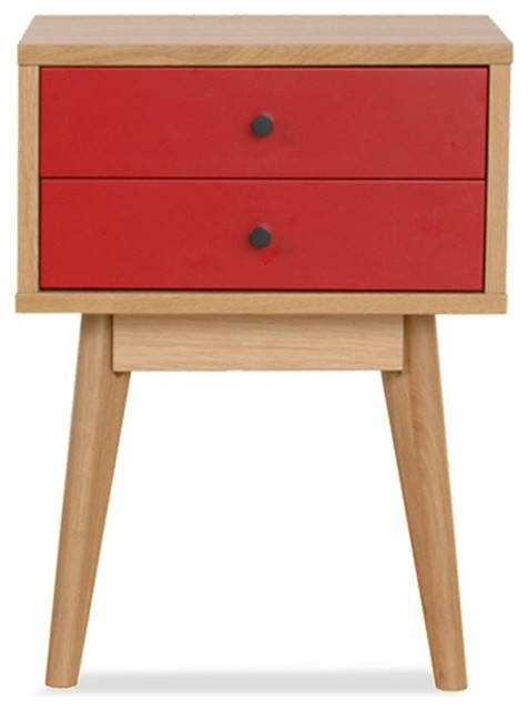 meuble de rangement design scandinave 2 tiroirs skoll couleur rouge scandinave table de. Black Bedroom Furniture Sets. Home Design Ideas