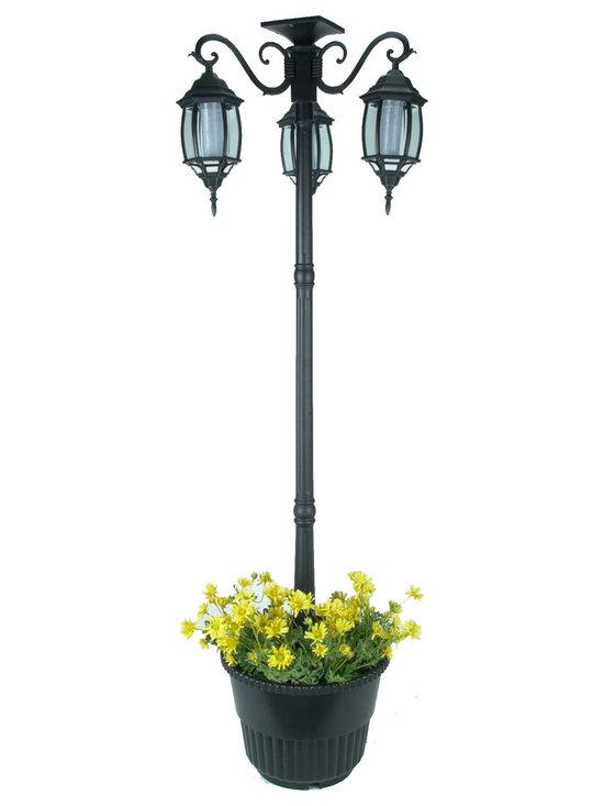 solar lamp post and planter 3 heads white leds black solar lamp. Black Bedroom Furniture Sets. Home Design Ideas