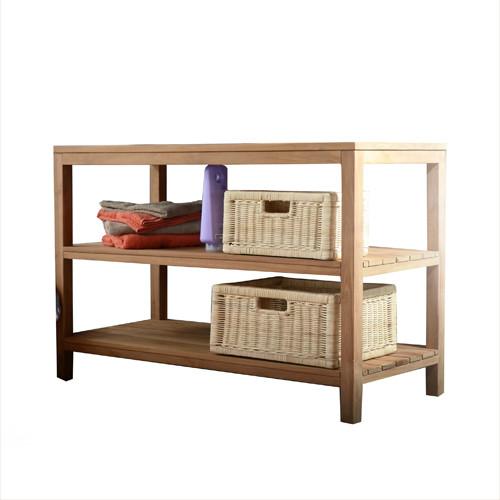 Meuble salle de bain en bois de teck 105 bahya bord de for Meuble lavabo bois