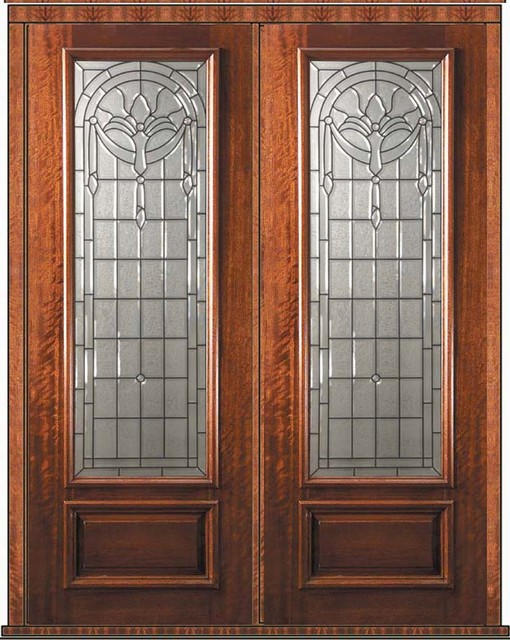 Prehung double door 96 wood mahogany palacio 1 panel 3 4 for Double wood doors with glass