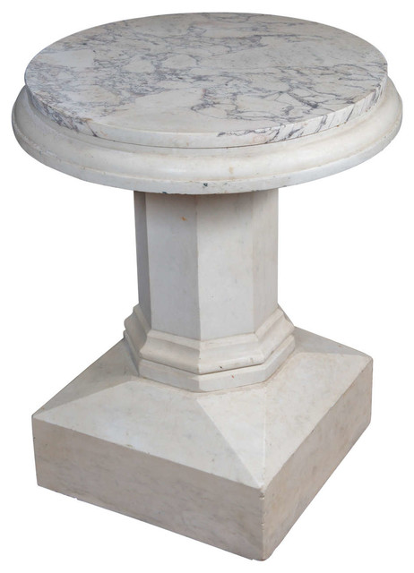An edwardian carved marble table with a marble top for Traditional dining table bases