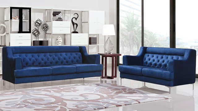 Zara fabric tufted sofa with chrome legs navy blue for Navy blue tufted sectional sofa