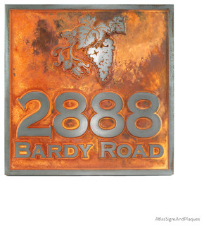 Winery sign 18 x 18 in iron rust mediterranean house for Mediterranean house numbers