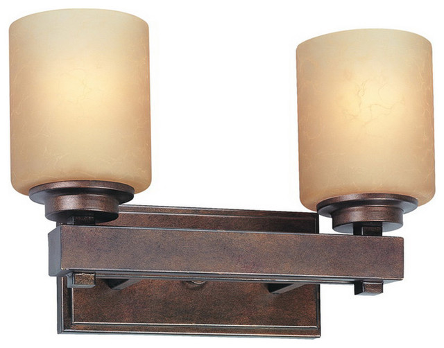 Sherwood 2 Light Bathroom Vanity Lights in Sienna - Rustic - Bathroom Vanity Lighting - by ...