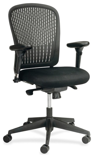 Safco Adjustable Arms Black Fabric Task Chair Contemporary Office Chairs