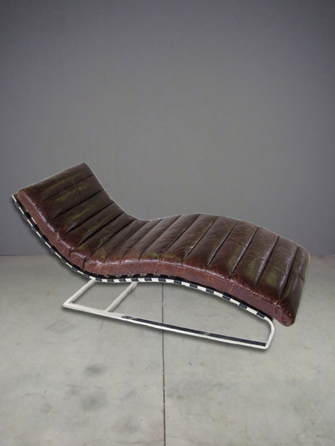 Leather chaise lounge eclectic austin by red modern for Antique leather chaise lounge