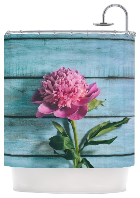 Nastasia Cook Peonie Teal Pink Shower Curtain Contemporary Sh