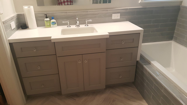 Grey Subway Tile Bathroom Remodel - Contemporary ...