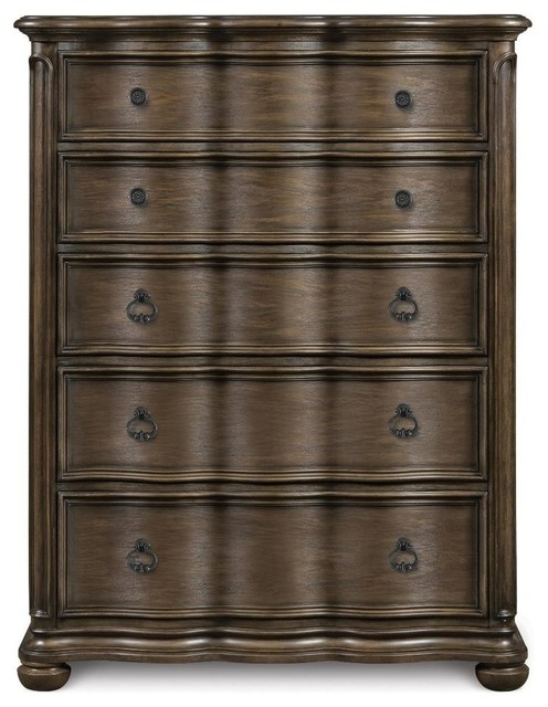 Magnussen Furniture Broughton Hall 5 Drawer Chest In Distressed Nutmeg Traditional Furniture