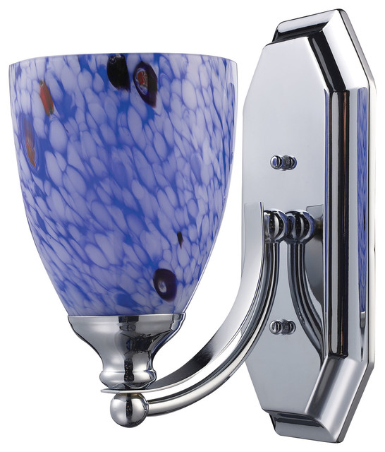 Blue Glass Vanity Light : 1 Light Vanity, Polished Chrome and Starburst Blue Glass - Contemporary - Bathroom Vanity ...