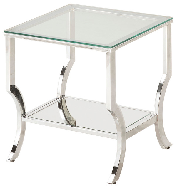 Attrayant Living Room Accent Chrome Metal End Table With Glass Top Mirrored Shelf Con