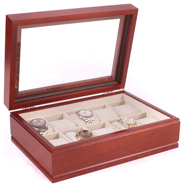 10 Watch Glass Top Storage Chest Featuring 10 Soft Suede