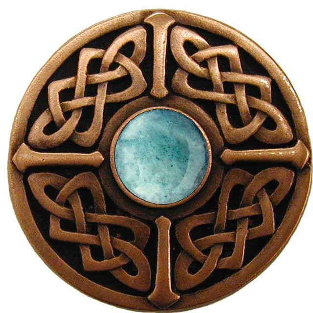 Celtic Knob (antique copper with green aventurine) - Traditional - Cabinet And Drawer Knobs - by ...