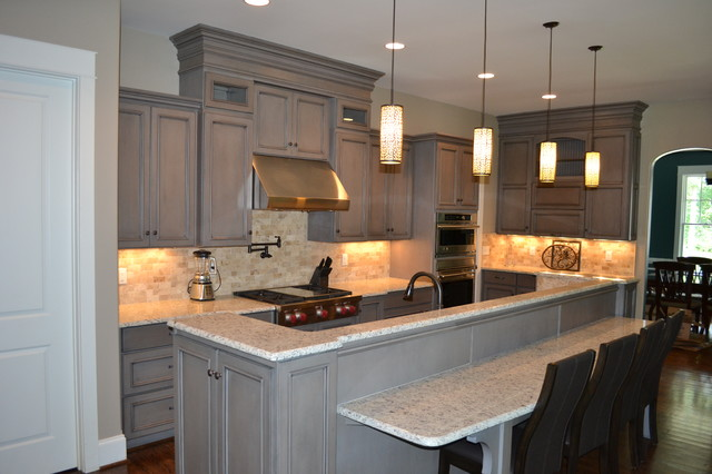 Gray Stained Cabinets With Black Glaze Richmond By Elite Kitchen And Bath