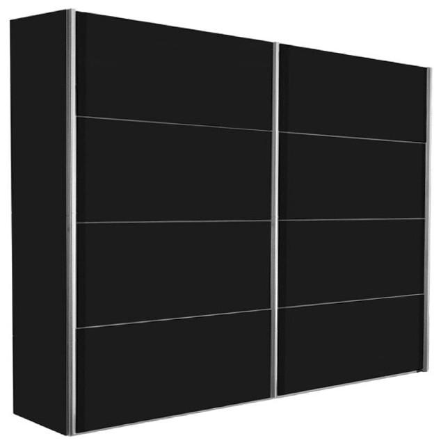 dressing kick 202cm en melamin noir mat avec portes. Black Bedroom Furniture Sets. Home Design Ideas