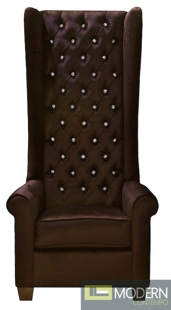 Floretina Baroque Tall Wingback Accent Chair with Crystals