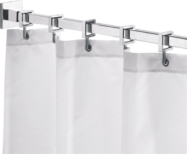 Square 98 In Shower Rod W Curtain Hooks Ad Contemporary Shower Curtain Rods