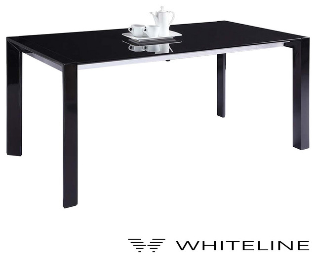 Whiteline Fiore Extendable Dining Table Black Modern Dining Tables