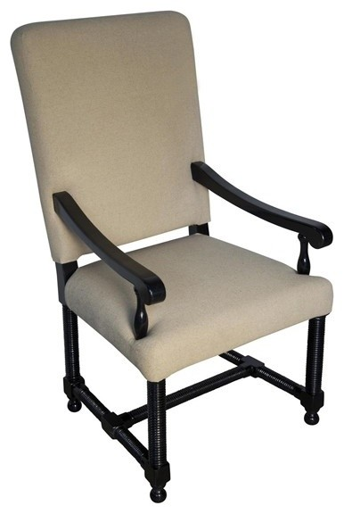 Noir Furniture Spanish Arm Chair Gcha115a Distressed Black Traditional Armchairs And