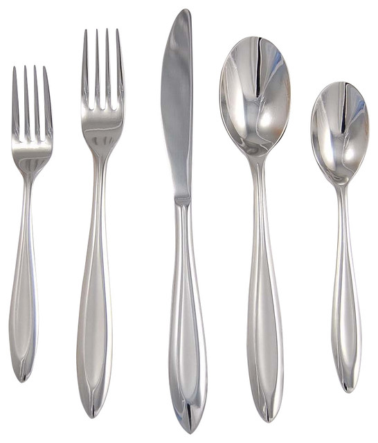 Fontur 20 Pc Flatware Set In Platinum Satin Finish Contemporary Flatware And Silverware