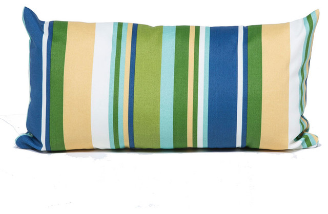 Blue Stripe Outdoor Throw Pillows Rectangle, Blue - Outdoor Cushions And Pillows - by TKClassics