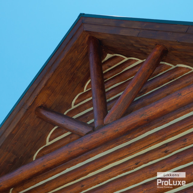Log cabin gable rustic exterior by sikkens proluxe for How to stain log cabin