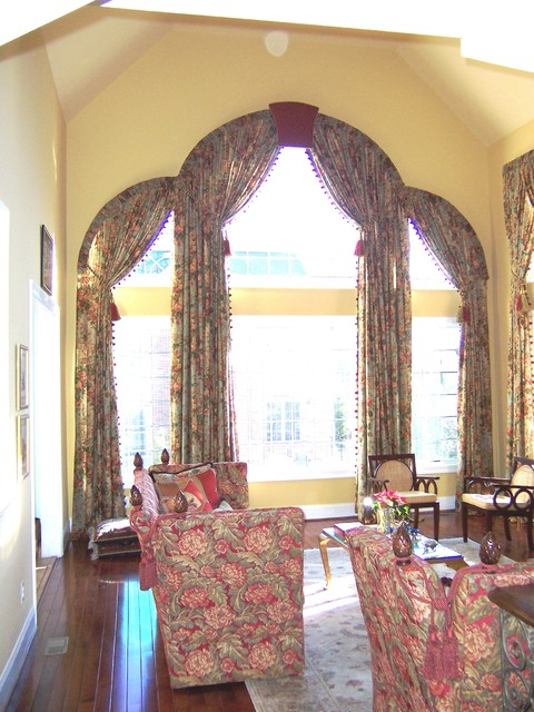 Looking Up Triple Arch Great Room Window Treatments
