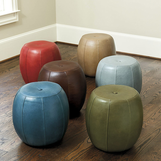 Floor Pillows Leather : Leather Pouf - Transitional - Floor Pillows And Poufs - by Ballard Designs
