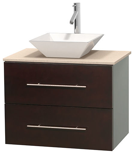 Centra 30 espresso vanity ivory marble top white for Marble top console sink