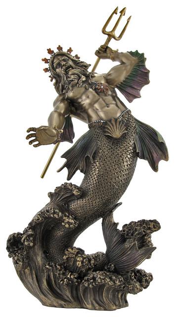 Poseidon God Of The Sea Bronzed Statue Beach Style
