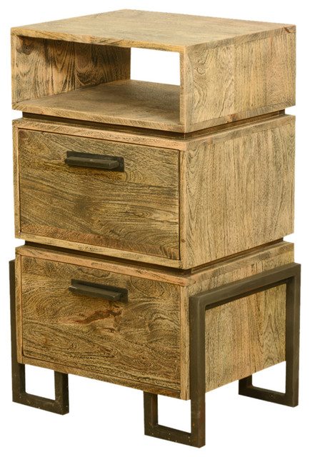 Rustic Wood Bedside Table: Modern Rustic Industrial Style Solid Wood & Iron Bedside