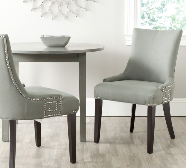Safavieh gretchen granite linen fabric side chair set of for Modern dining chairs australia
