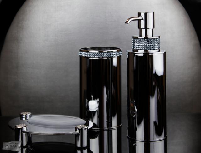 Bathroom accessories set with swarovski crystals for Bathroom supplies miami