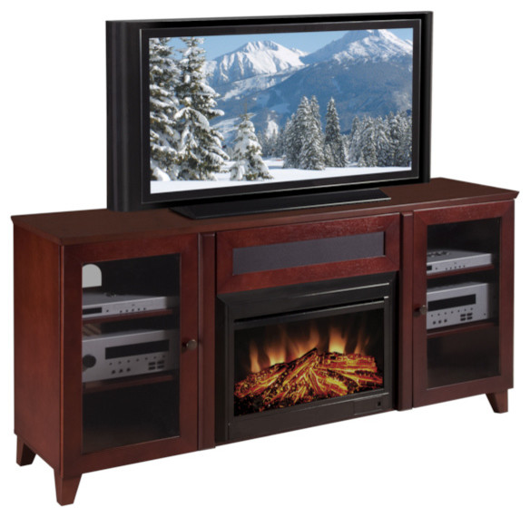 Shaker 70 Inch Dark Cherry Tv Console And Electric Fireplace Contemporary Indoor Fireplaces