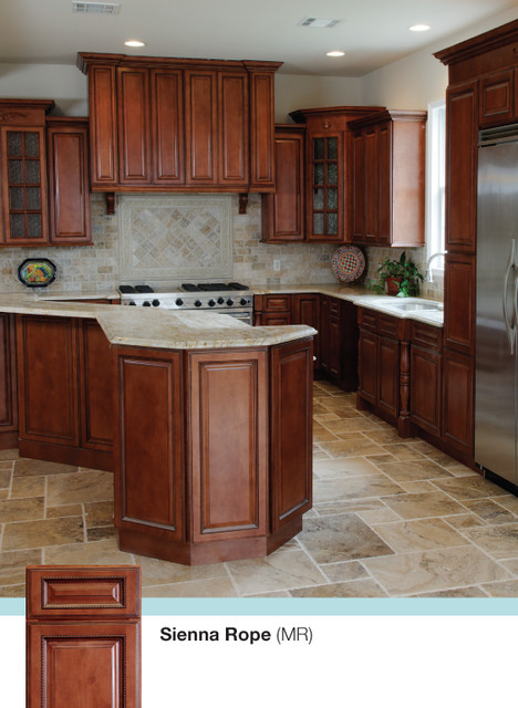 Brown Kitchen Cabinets  Sienna Rope Door Style  Kitchen Cabinet