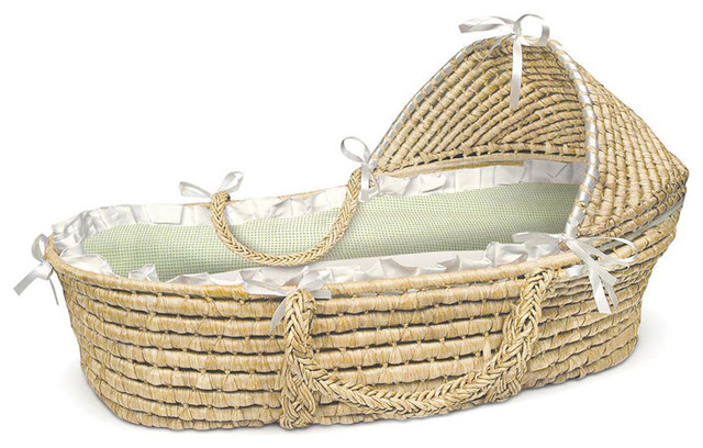Natural Hooded Moses Basket - White/Sage Gingham Bedding ...