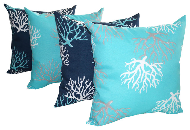 Beach Style Outdoor Cushions : Isadella Coral Outdoor Throw Pillows, Set of 4 - Beach Style - Outdoor Cushions And Pillows ...