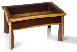 Live edge walnut display case coffee table contemporary for How to build a coffee table display case