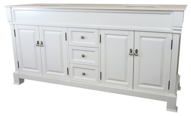 72 Inch Double Sink Vanity Wood Cream White Traditional Bathroom Vanities And Sink Consoles