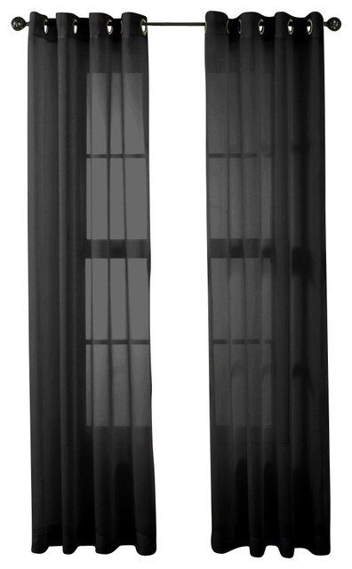 hlc me 2 piece sheer window curtain grommet panels black