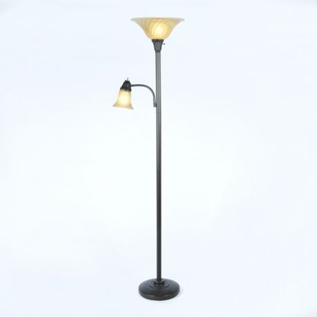 Single Arm Reading Torchiere Traditional Floor Lamps