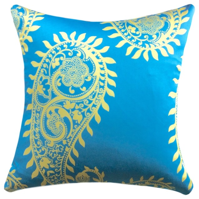 Bright Blue & Yellow Large Paisley 20 Inch Pillow Cover - Beach Style - Decorative Pillows - by ...
